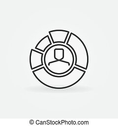 Pie chart with face inside outline icon