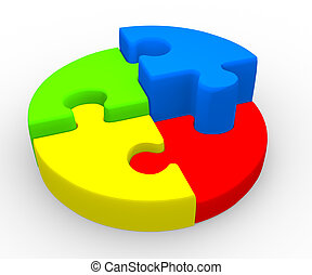 Pie chart - Pie chart with puzzle pieces ( jigsaw). 3d...