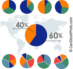 Pie charts Circle diagram Business element Infographic design Vector