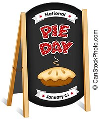 Pie Day, January 23, folding sidewalk easel sign, chalk board background