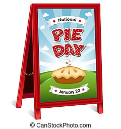 Pie Day Sign, folding sidewalk easel, January 23