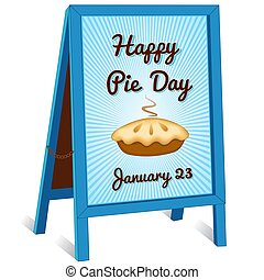 Pie Day Sign, January 23, folding sidewalk easel