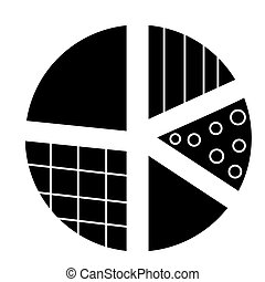 pie diagram icon, vector illustration, black sign on isolated background