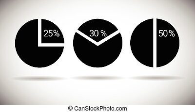 Pie Diagram Set Chart Graph Percentage Web Icon Collection...
