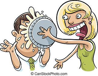 Pie Fight - A woman splats a cream pie in a man's face.