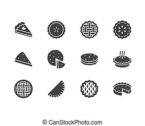 Pie flat glyph icons set. Ossetian, cherry, apple, pumpkin...