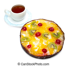 Pie fruit and a cup of tea