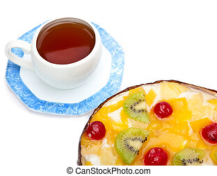 Pie fruit with cottage cheese and a cup of tea on a saucer