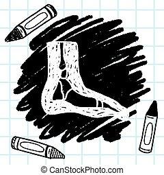 pie, garabato, radiografía