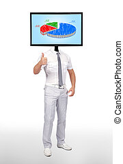pie graph - businessman and monitor with pie graph for a...