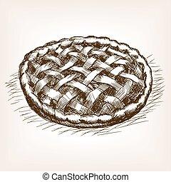 Pie hand drawn sketch style vector