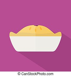 Pie Icon   Set of great flat icons with style long shadow icon and use for hotel, restaurant, vacation, event and much more.