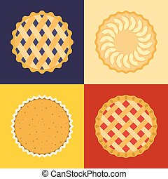 Pie icon set, raspberry, cherry, blackcurrant, apple,...