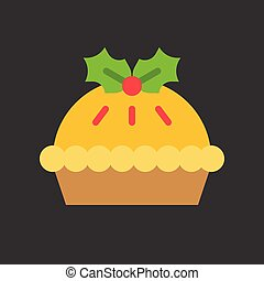 pie icon with mistletoe christmas theme