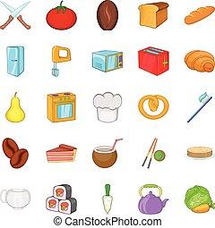 Pie icons set, cartoon style