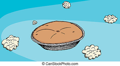 Pie In The Sky - Cartoon of a baked pie in the sky with...