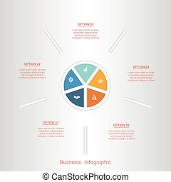 Pie infographic template with text areas on five positions.