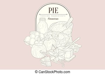 Pie ingredients Vintage Sketch