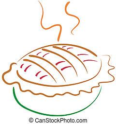 Pie line art - Stylized lineart illustration of an apple...