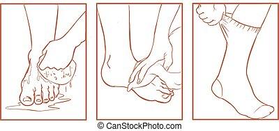pie, médico, vector, ilustración, cuidado
