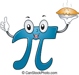 Pie Mascot - Illustration of a Pi Mascot Carrying a Pie