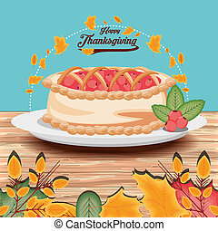 pie of thanksgiving day with garlands
