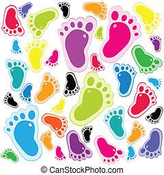 pie, patrón, pasos, seamless