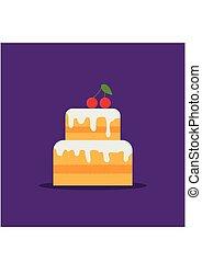 pie., plat, cherry., icône, pourpre, doux, illustration, arrière-plan., vecteur, wedding., gâteau, vitré, anniversaire, heureux, crème