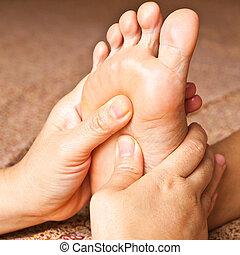 pie, reflexology, masaje, tratamiento, tailandia, balneario