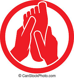 pie, símbolo, masaje