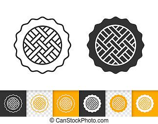 Pie simple black line sweet fruit tart vector icon