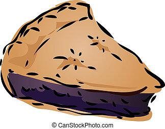 Blueberry desert Pie, hand drawn retro illustration