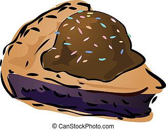 Pie sketch - Blueberry pie with icecream and sprinkles Pie, ...