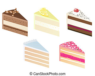pie slice - illustration of five delicious pieces of...