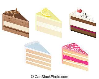 pie slice - illustration of five delicious pieces of...