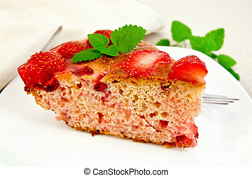 Pie strawberry with jelly on board - Piece of sweet pie with...