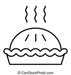 Pie thin line icon. Dessert vector illustration isolated on white. Cake outline style design, designed for web and app. Eps 10.