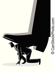 pie, trampling, gigante, hombre de negocios