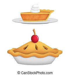 Pie - Whole pie with cherry and pie slice.
