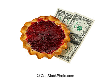 pie with curd filling and raspberries and three dollars on a white background