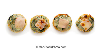 Pie with spinach, cheese and egg isolated on white background