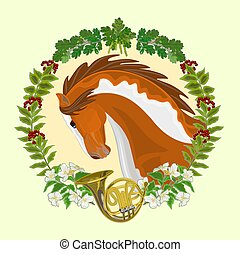 Piebald horse hunting theme vector - Piebald horse head of ...