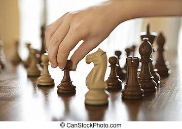 piece., em movimento, xadrez, mão