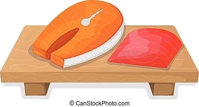 Piece fish tuna salmon, fresh steak tenderloin on wooden ...