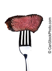 piece of a grilled steak on a fork