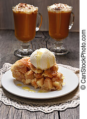 Piece of apple pie served with ice cream