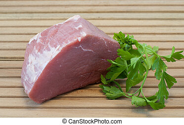 piece of beef with parsley