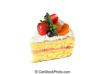 Piece of berry cream cake isolated on white background