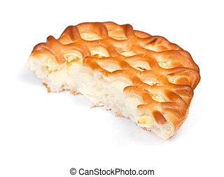 Piece of big cottage cheese pie