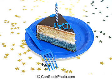 A piece of the birthday cake surrounded by star confetti.